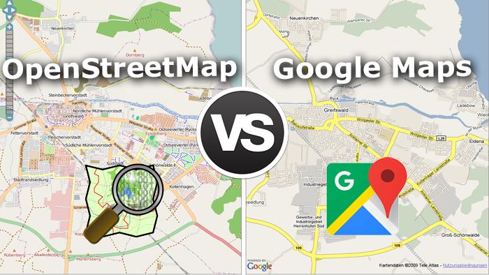 نحوه نمایش Google Maps در مقایسه با OpenStreetMap
