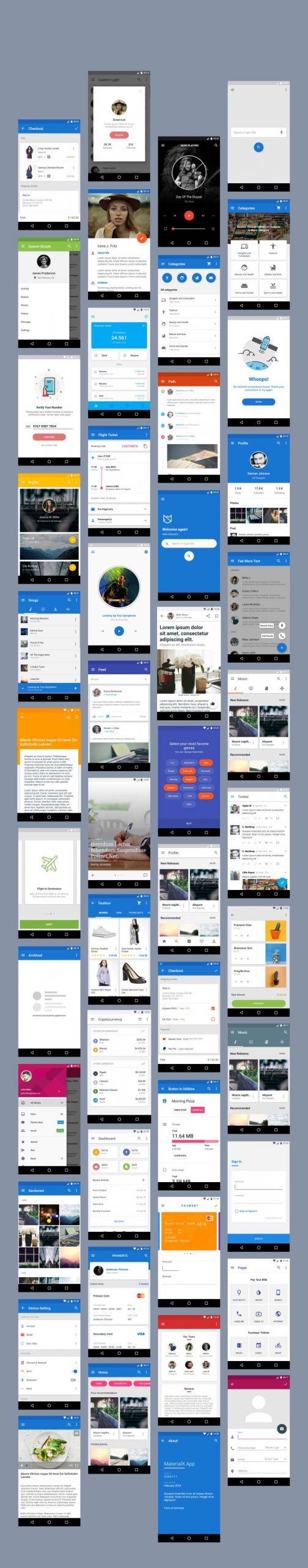پکیج کامل سورس اندروید قالب های آماده متریال دیزاین Material Design   مارکت سورس اندروید ریور